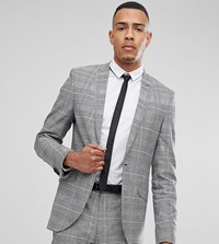 Heart And Dagger Tall Skinny Suit Jacket In Pow Check Grey