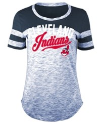 5Th And Ocean Women's Cleveland Indians Space Dye Cb Yoke T Shirt Navy