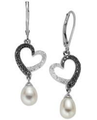 Macy's Sterling Silver Earrings Cultured Freshwater Pearl 6Mm And Black And White Diamond 1 3 Ct. T.W. Heart Drop Earrings