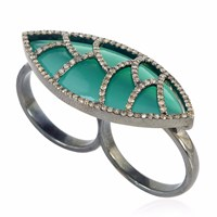 Meghna Jewels Bora Bora Ring Green Onyx And Diamonds