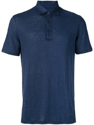 Ermenegildo Zegna Short Sleeve Polo Shirt Blue