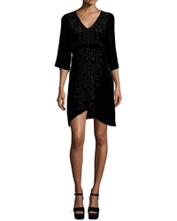 Johnny Was Lelko Embroidered Velvet Tunic Dress Women's Black