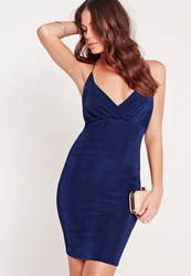 Missguided Slinky Strappy Bodycon Dress Navy Blue