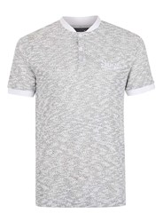 Topman Simple Clothing Grey And White Loose Knit Polo Neck T Shirt