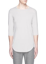 Attachment Mid Sleeve Cotton T Shirt Grey