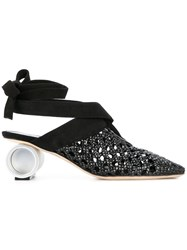 J.W.Anderson Jw Anderson Woven Cylinder Heel Mules Black