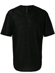 Attachment Round Hem T Shirt Men Cotton Iv Black