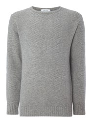 Soulland Ricketts Textured Knitted Crew Neck Jumper Grey Marl
