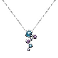 Kit Heath Sterling Silver Cascade Topaz Amethyst Pendant Necklace Silver