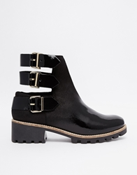 Miista Cecilia Buckle Cut Out Flat Ankle Boots Black
