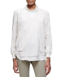 Brunello Cucinelli Long Sleeve Zip Front Lace Jacket Vanilla White Women's