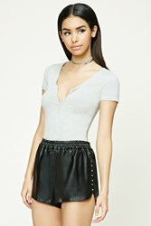 Forever 21 Studded Faux Leather Shorts Black