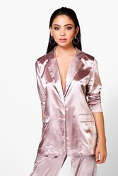 Boohoo Freya Premium Satin Tailored Blazer Rose