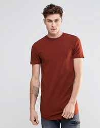 Asos Super Longline Muscle T Shirt With Curved Hem In Red Hot Spice
