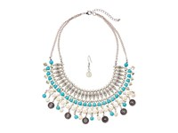 Mandf Western Turquoise Ivory Collar Earrings Set Silver Ivory Turquoise Jewelry Sets Multi