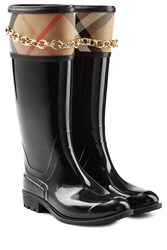 Burberry Shoes And Accessories Patent Wellington Boots With Chain Embellishment Black