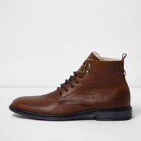 River Island Mens Brown Tumbled Leather Borg Lined Boots