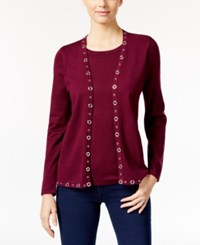 Ny Collection Petite Grommet Layered Look Sweater Rita