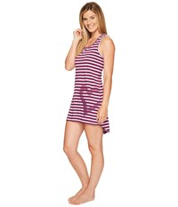 Life Is Good Heart Tank Sleep Dress Dusty Orchid Deep Plumb Stripe Women's Pajama Pink