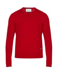Gucci Crew Neck Wool Sweater Red