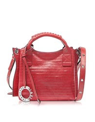 Francesco Biasia Gardenia Leather Handbag W Shoulder Strap Ruby