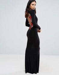 Club L Long Sleeve Maxi Dress With Embroidered Floral Back Detail Black
