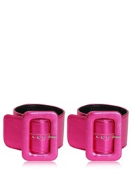 Attico Metallic Leather Ankle Cuffs Fuchsia