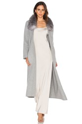 Soia And Kyo Daphne Coat With Silver Fox Fur Trim Gray
