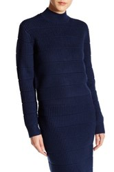 Marc By Marc Jacobs Merino Wool Quilted Compact Sweater Blue