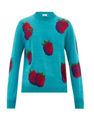 Acne Studios Koray Intarsia Raspberry Wool Blend Sweater Green Multi