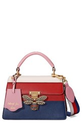 Gucci Queen Margaret Top Handle Leather Satchel Blue Pink White Red