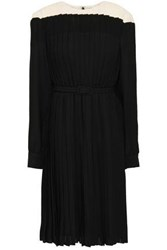 Mikael Aghal Belted Pleated Crepe Dress Black