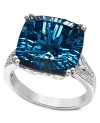 Macy's Sterling Silver Ring Blue Topaz 12 Ct. T.W. And Diamond Accent Cushion Cut Ring