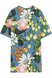 Marni Floral Print Cotton And Linen Blend Mini Dress Blue