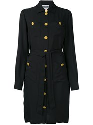 Moschino Military Button Shirt Dress Women Viscose 44 Black