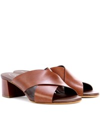 Tod's Leather Slip On Sandals Brown