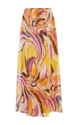 Emilio Pucci Silk Long Skirt Orange