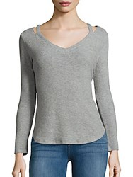 Red Haute V Neck Long Sleeve Top Grey