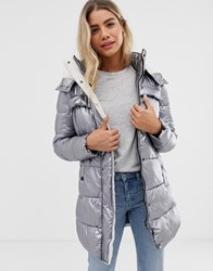 Urban Bliss Belle Padded Coat With Borg Lining In Metallic Silver