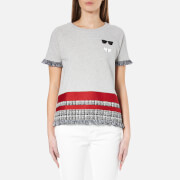 Karl Lagerfeld Women's Stripe Boucle Sweatshirt Grey