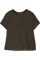 Enza Costa Crinkled Cotton Gauze Top Army Green