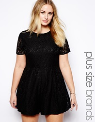 Truly You Lace Playsuit Black