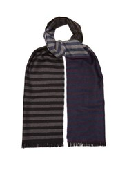 Paul Smith Striped Wool Scarf Grey