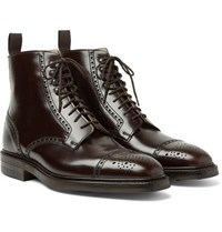 George Cleverley Toby Polished Leather Brogue Boots Dark Brown