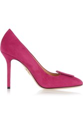 Charlotte Olympia Catherine Suede Pumps Purple
