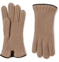Loro Piana Leather Trimmed Ribbed Cashmere Gloves Neutrals