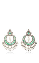 Sanjay Kasliwal Indorussian Emerald And Pearl Drop Earrings Green