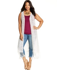Jessica Simpson Plus Size Sleeveless Fringed Duster Cardigan