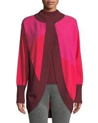 St. John Links Cashmere Colorblock Intarsia Cocoon Cardigan Pink Red