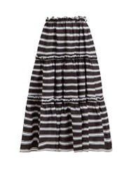 Lisa Marie Fernandez Tiered High Rise Striped Satin Midi Skirt Black White